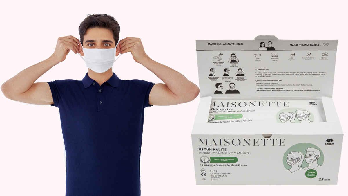 Maisonette pamuklu yüz maskesi konfor ve güven sağlıyor