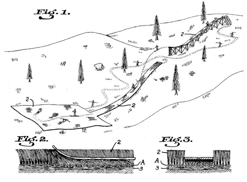 """Fig. 1: Shows an artificial ski slope with pile fabric (US Patent No. 2 161 799, """"Skiing surface"""", 1939, Thomas Castberg)"""