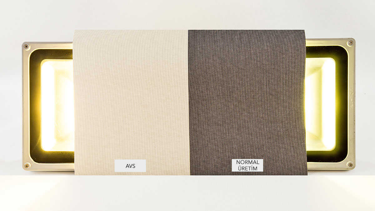 Fig. 3.1: Images of curtain fabrics with antiviral coating and obtained from normal production